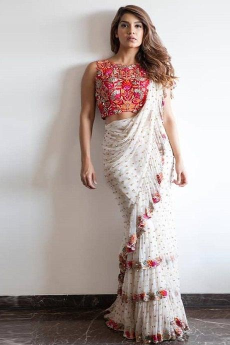 White Color Party Wear Net Ruffle Saree RR15