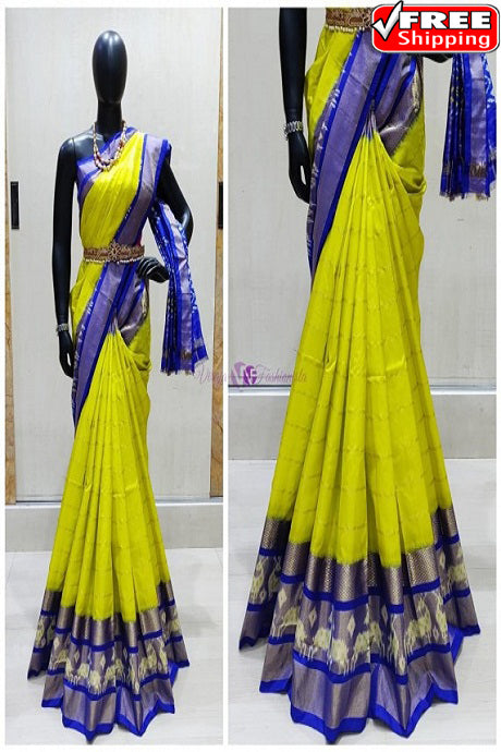 Stylish Parrot And Blue Color Soft Silk Designer Sarees,Sari