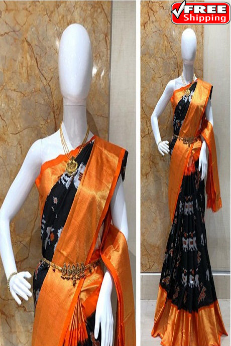 Superior Black And Orange Colored Hand Weaving Soft Silk Sarees,Sari