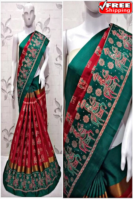 Surpassing Red And Green Color Soft Silk Designer Sarees