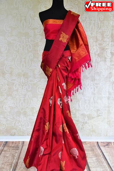 Traditional Ready Maroon Color Soft Silk Designer Sarees