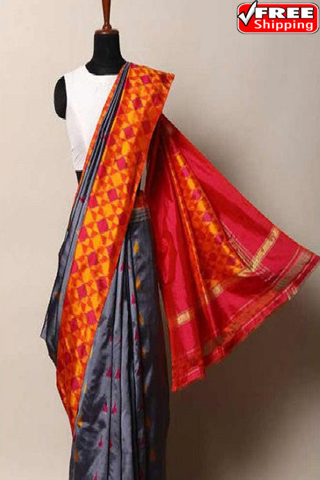 Trendy Grey Color Soft Silk Designer Sarees,Sari