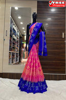 Imposing Blue and Pink  Kachipuram Color Soft Silk Designer Sarees,Sari