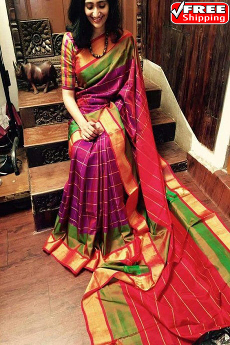 Rani and Red Color Party Wear Hand Weaving Soft Silk Designer Sarees,Sari
