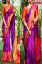 Purple Rani Shaded Color Party Wear Hand Weaving Soft Silk Designer Sarees,Sari