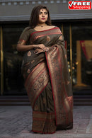 Coffee Black Shaded Color Party Wear Hand Weaving Soft Silk Designer Sarees,Sari