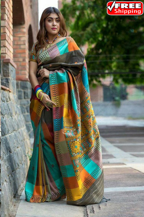 Multi Color Party Wear Hand Weaving Soft Silk Designer Sarees,Sari