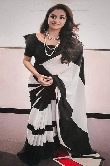 Black Color Party Wear Chex Printed Saree RR14