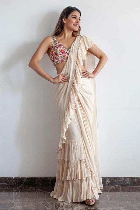 White Color Party Wear Ruffle Saree RR011