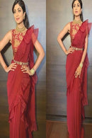 Shipa Shetty Red Color Party Wear Ruffle Saree RR25