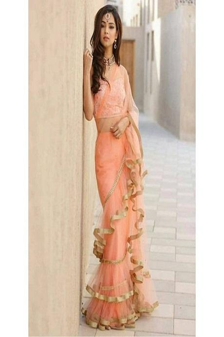 Admirable Orange Color Party Wear Ruffle Saree RR13