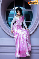 Fanstastic Light Pink Color Soft Silk Designer Party Wear Saree