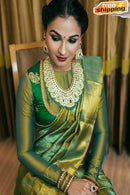 New Fashionble Designer Green colored Silk  Saree