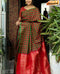 Attractive Red And Green Chex Color Designer Silk Saree
