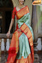 Enegretic Firoji and Red Color Soft Silk Designer Sarees
