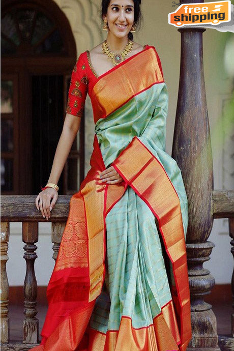 Firoji and Red Color Soft Silk Designer Sarees,Sari