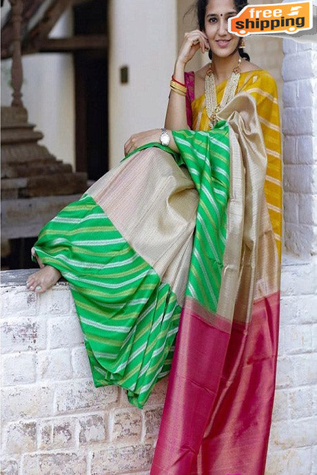 Fanciful Multi Color Soft Silk Designer Occasion Wear Saree