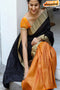 Immaculate Black And Yellow Color Designer Soft Silk Cotton Saree