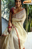 Good Looking Off White and Red Color Soft Silk Designer Cotton Saree