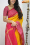 Heavenly Yellow And Red Color Designer soft Silk Saree