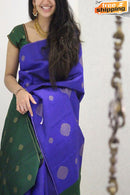 Classic Blue And Green Color Festival Wear Designer Silk Saree
