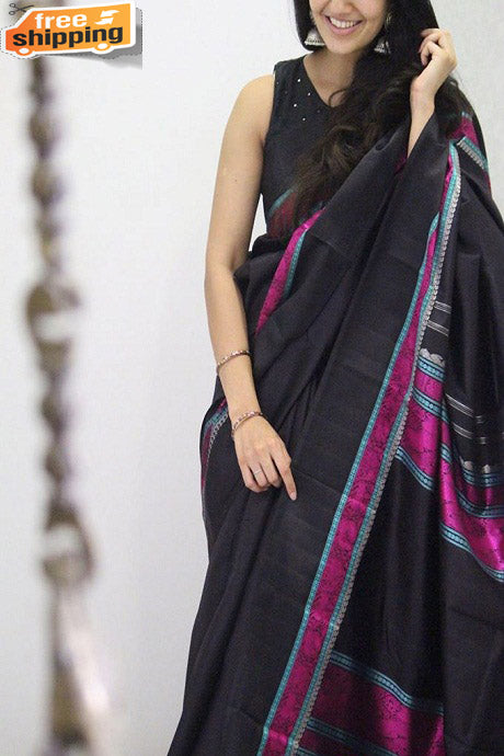 Adorning Black Color Soft Silk Occasion Wear Designer Saree