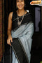 Amazing Light Grey And Black Color Soft Silk Designer Sarees