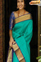 Engrossing Firoji And Blue Color Designer Soft Silk Saree,Sari