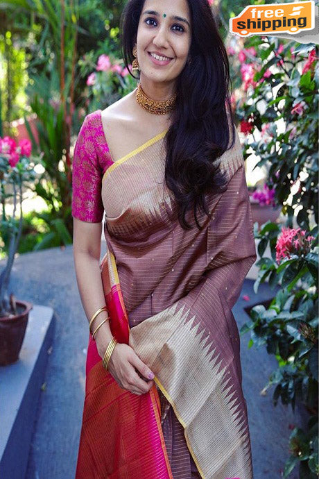 Fabulous Coffee And Rani Color Designer Silk Saree