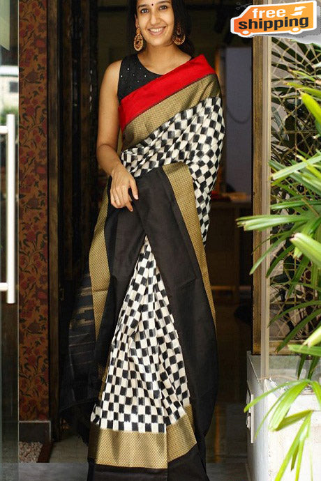 Black And White Colored Chex Banarasi Saree,Sari