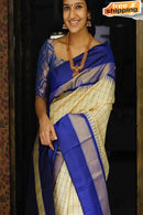 Graceful Blue And Cream Color Soft Silk Designer Saree