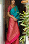 Eventual Hot Red N Firoji Color Soft Silk Designer Banarasi Silk Saree