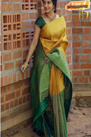 Designer One piece Green Yellow colored Soft Silk Saree