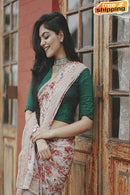Good Looking Green and Cream Color Soft Silk Designer Printed Saree
