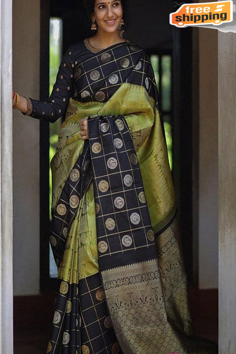 Designer One piece Green Black colored Banarasi Saree