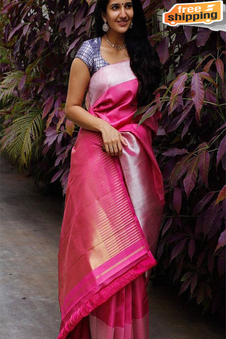 Latest One piece  Rani colored Soft Silk Saree