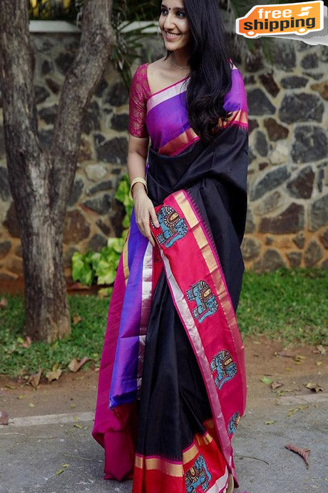 Latest New  Black colored Soft Silk Designer Sarees,Sari