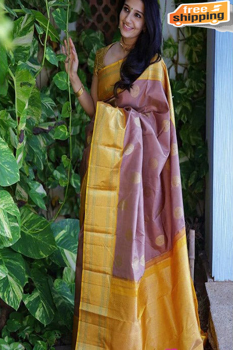 Attractive Mustard And Wine Color Designer Silk Sarees,Sari
