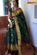 Excellent Green and Gold Color Soft Silk Designer Patta Sarees