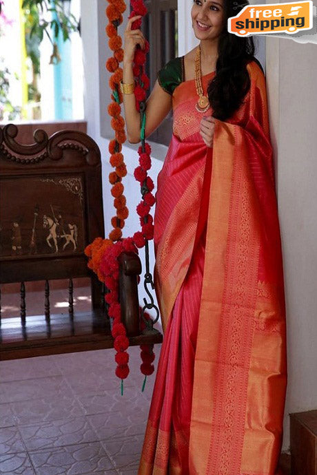 Fanstastic Majenta Orange Color Soft Silk Designer Cotton Saree