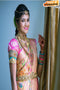 New Fashionble Designer One piece Peach colored Silk Saree