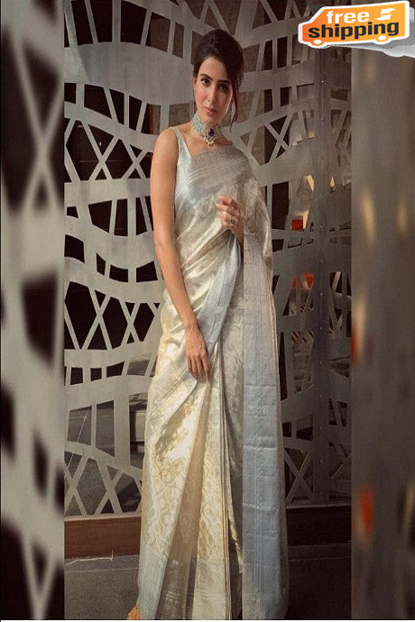 Graceful Silver Color Soft Silk Designer Party Wear Saree