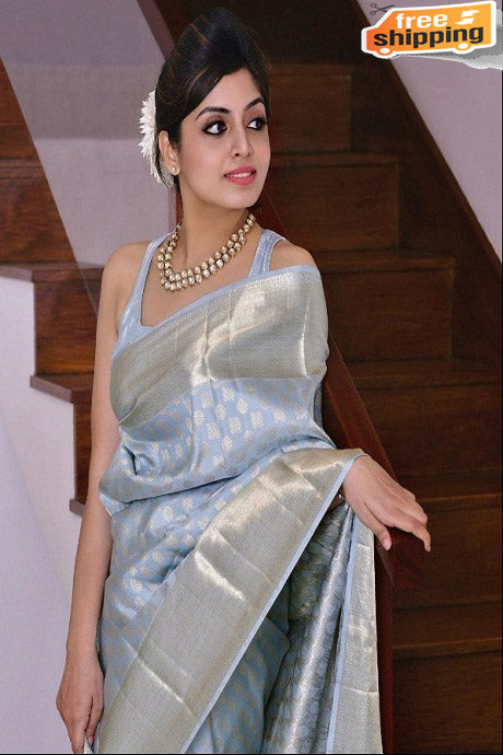Fashionble Designer One piece Attractive Grey colored Soft Silk Saree