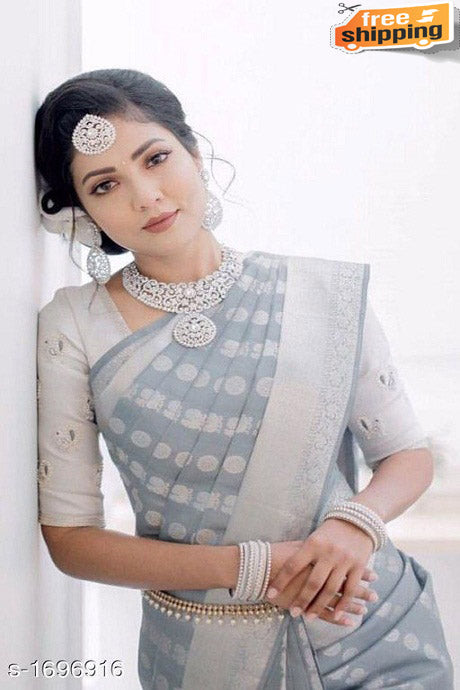 Admirable Grey Color Designer Soft Silk Saree
