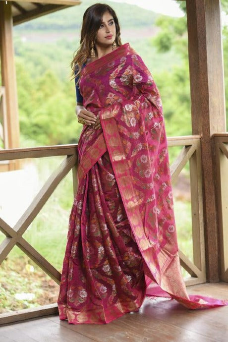 Blooming Light Gajari Color Soft Silk Designer Saree
