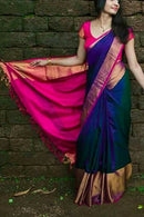 Attractive Blue And Rani Colored Party Wear Hand Weaving Soft Silk Saree