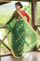 Engrossing Green and Red Color Soft Linen Silk Designer Saree