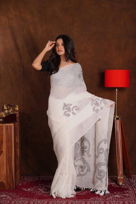 Designer One piece White colored Linen Saree