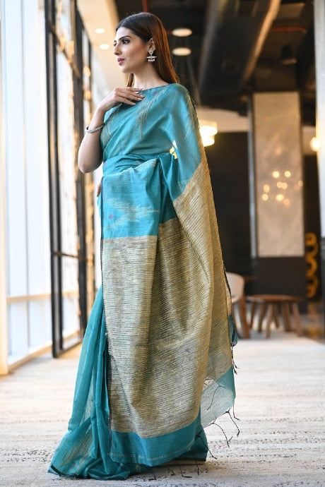 Amazing Firoji Color Linen Attractive Designer Saree