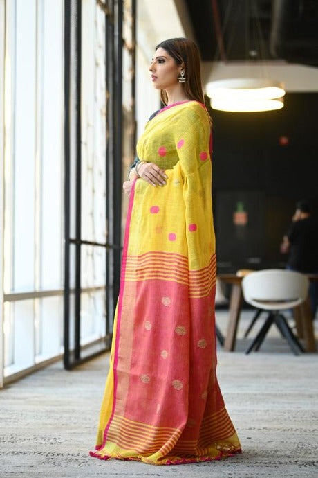 Trendy Yellow Color Soft Linen Silk Designer Saree